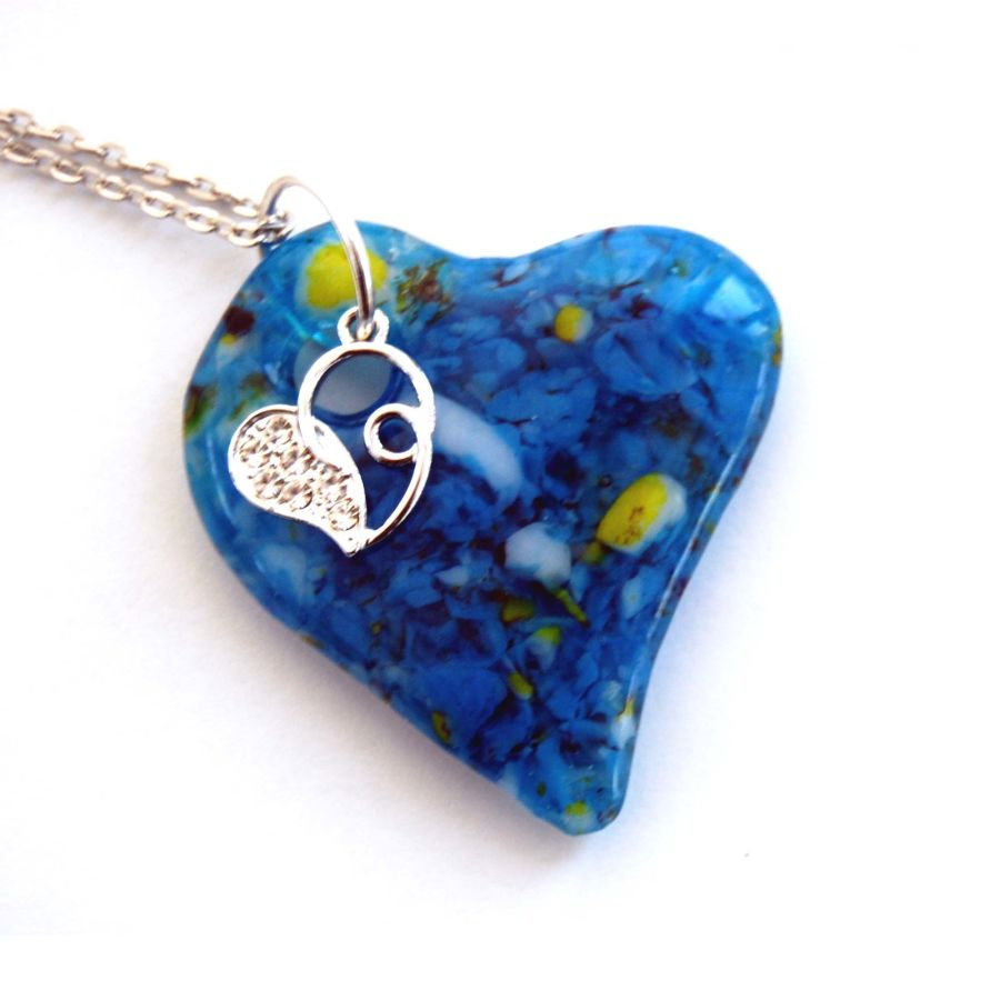 Fused Glass  Blue Heart Pendant with Tibetan Silver and Rhinestone Accent