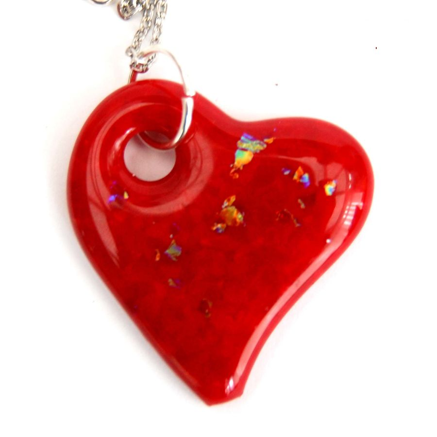 Fused Glass  Heart Pendant on Chain with Dichroic Accents