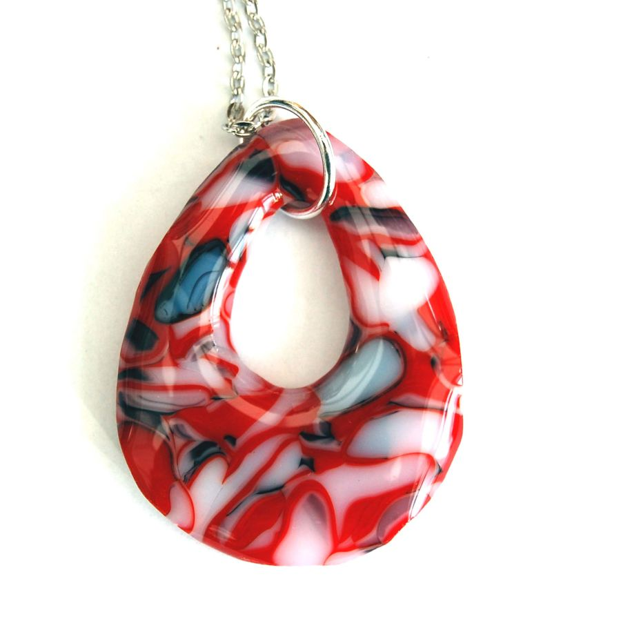 Fused Glass Fire and Ice Teardrop Shape Pendant On Chain