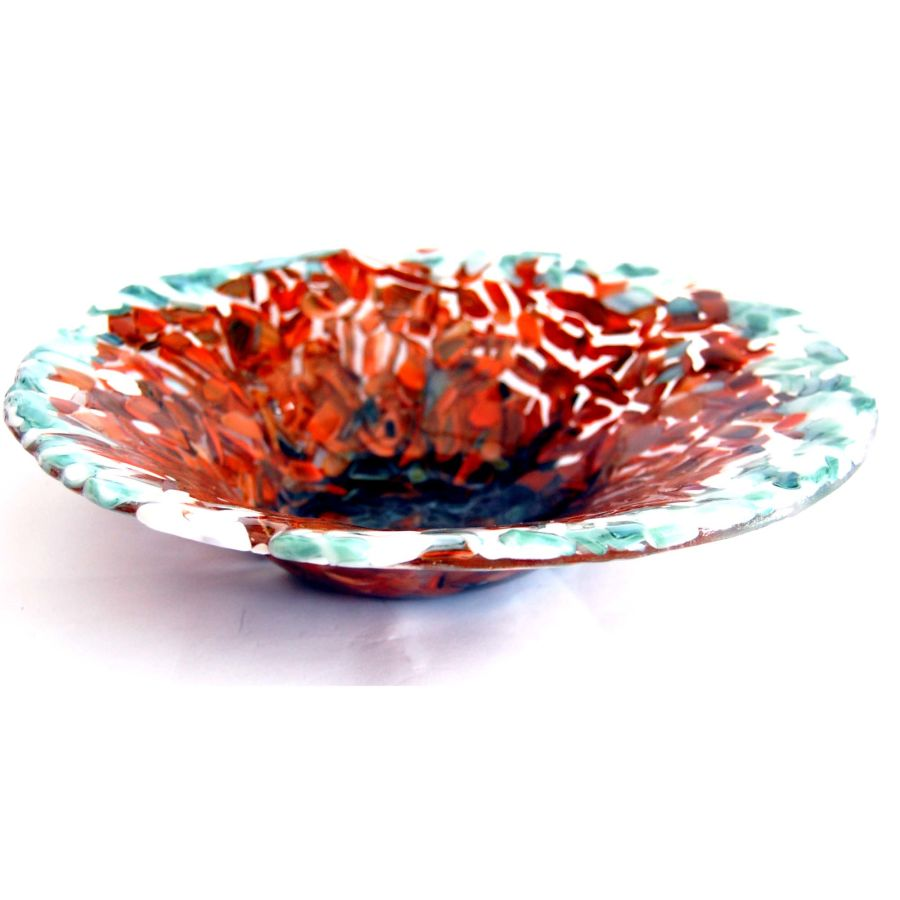 Fused Glass Earth Tones Large Bowl Dish 11 Inch