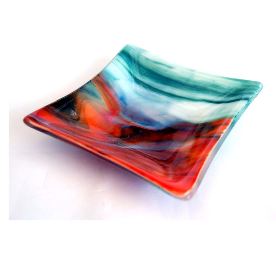 Fused Glass Earth Tones Square Shaped Bowl Dish 6 Inch