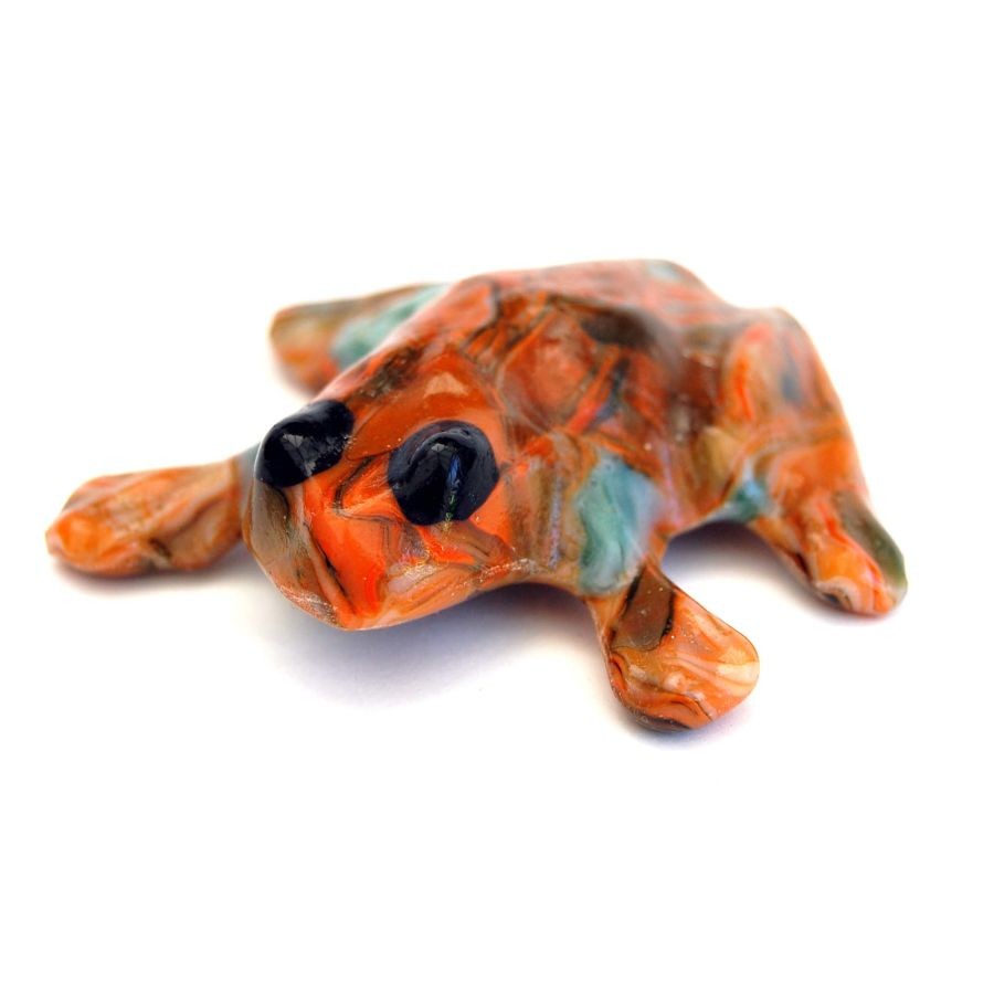 Fused Glass Earth Tones Frog Paperweight Ornament