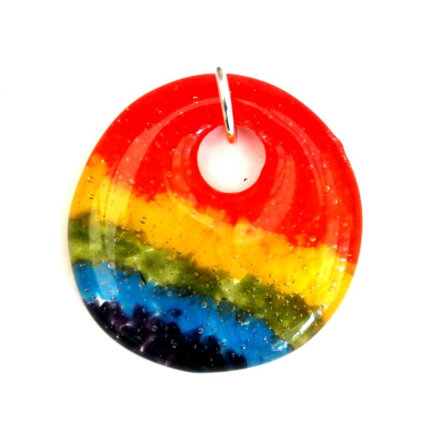 Fused Glass Rainbow Colours Token Charm in Velvet Presentation Pouch - Circle