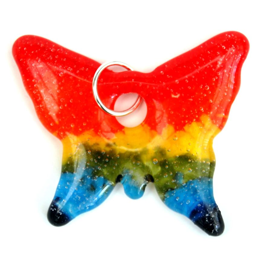 Fused Glass Rainbow Colours Token Charm in Velvet Presentation Pouch - Butterfly #1