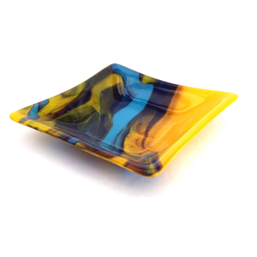 Fused Glass Seismic Shock Square Shaped Bowl Dish 6 Inch