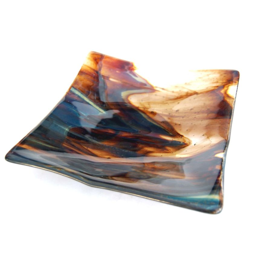Fused Glass Petrified Wood Large Square Dish Bowl 7.25 Inch