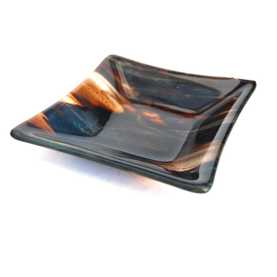 Fused Glass Petrified Wood Large Square Dish Bowl 6 Inch