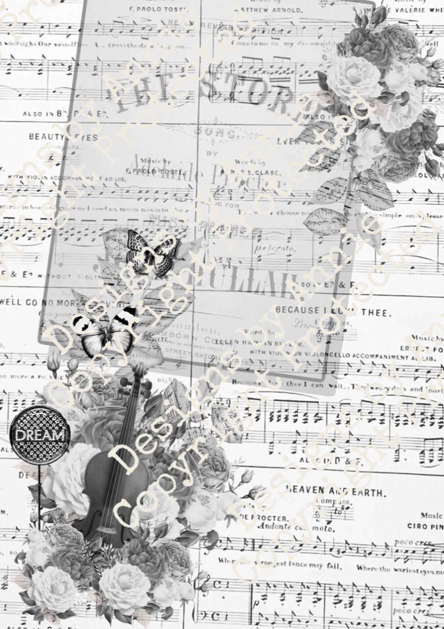 Violin & Flowers Papers