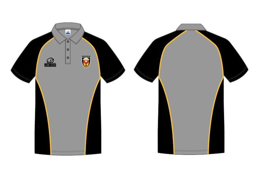Polo Shirt - Grey, Black & Amber
