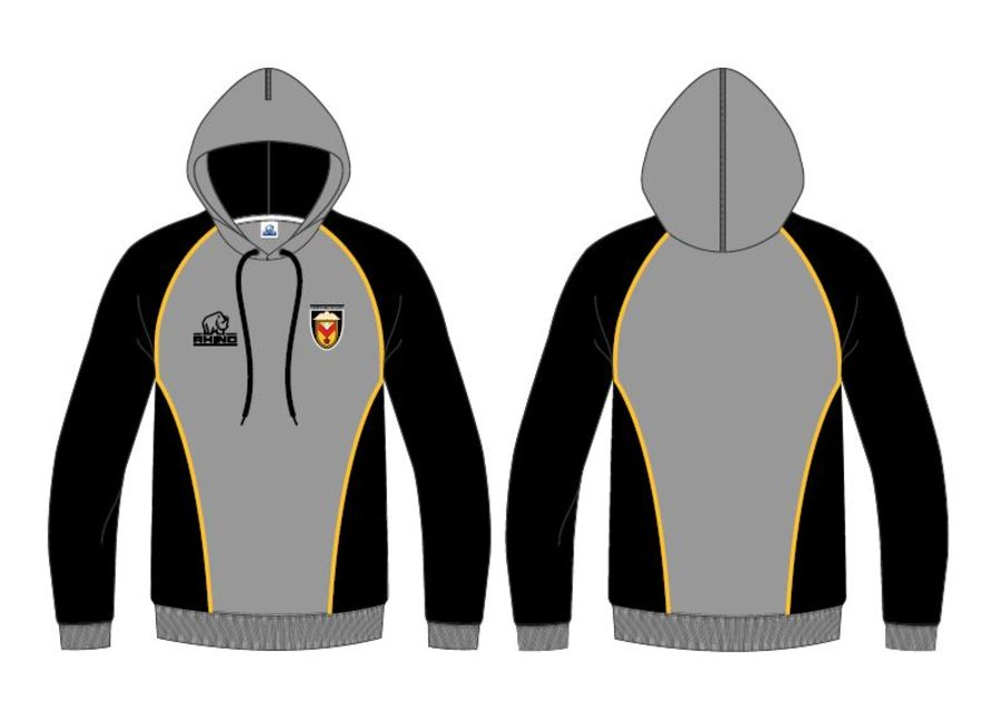Pullover Hoodie - Grey, Black and Amber