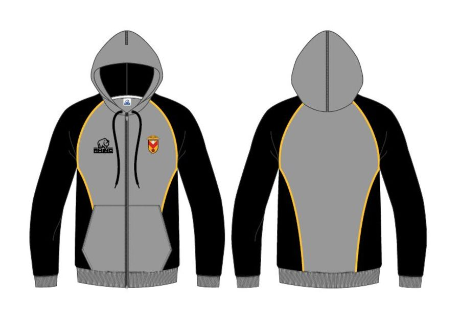 Full Zip Hoodie - Grey, Black & Amber