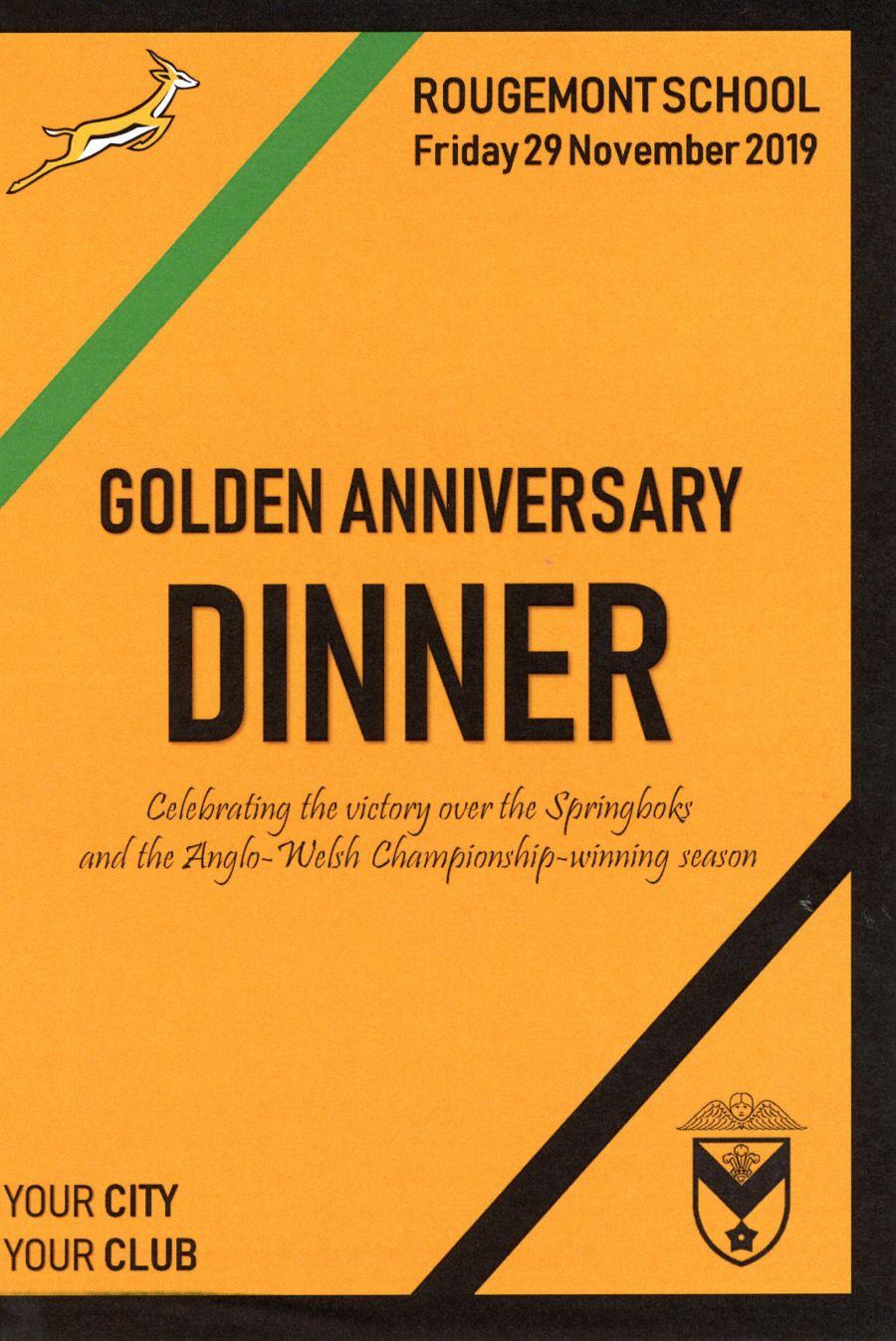 Booklet - Newport v South Africa 1969 Golden Anniversary Dinner