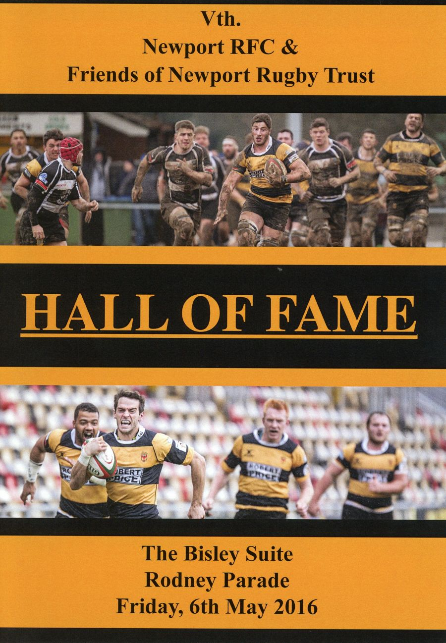 Booklet - 5th Newport RFC Hall of Fame - 2016