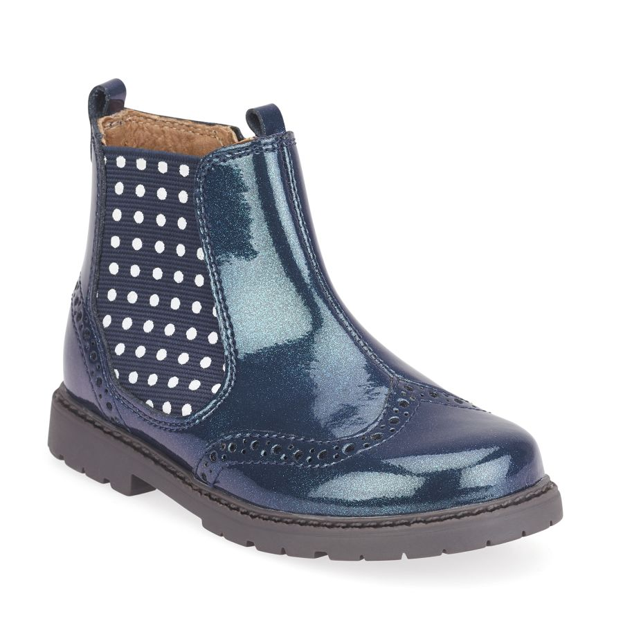 Chelsea Navy Glitter Patent Boots