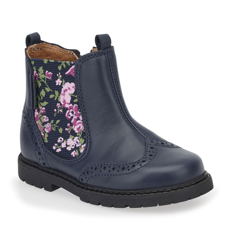 Chelsea Navy Blue Floral Boots