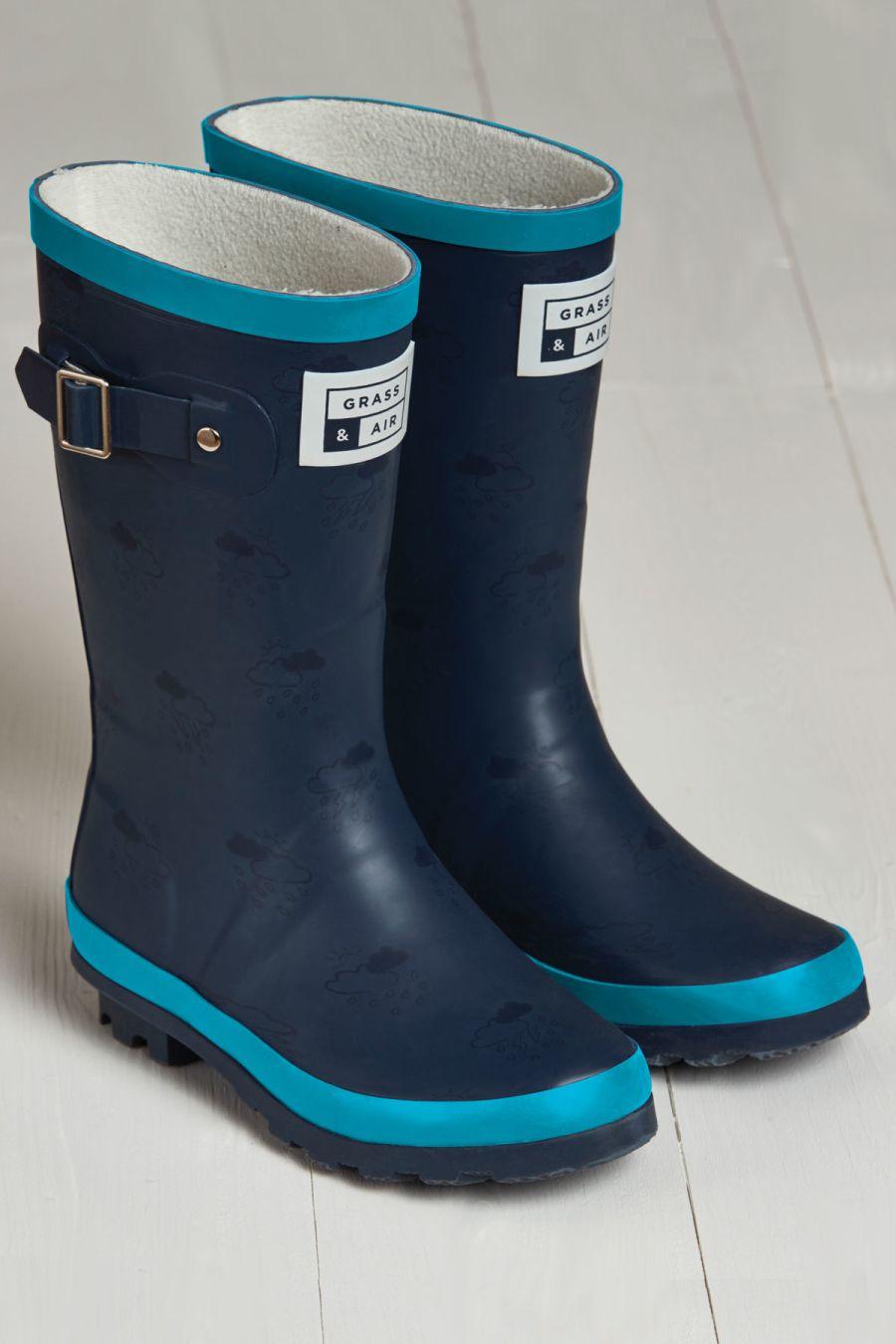 Navy/Turquoise Junior Wellies