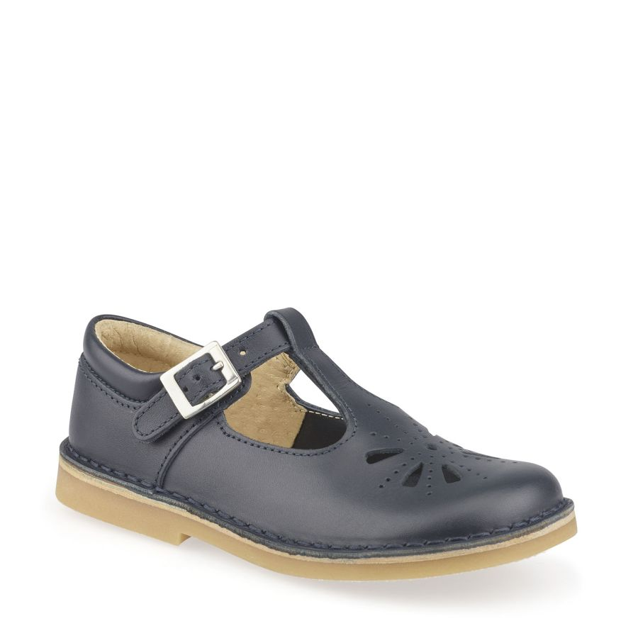 Lottie Navy Leather Shoe