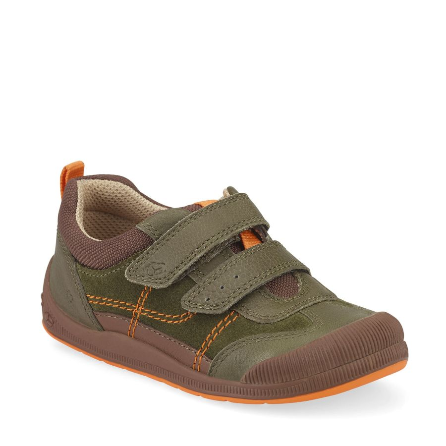 Tickle Khaki Green Leather Shoes
