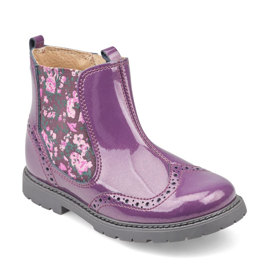 Chelsea BlackCurrant Glitter Patent Boots