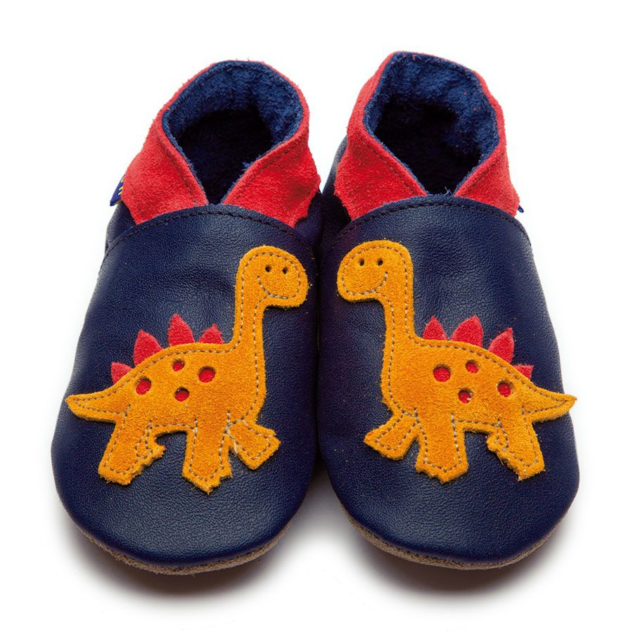 Dino Navy Leather Shoe Slippers