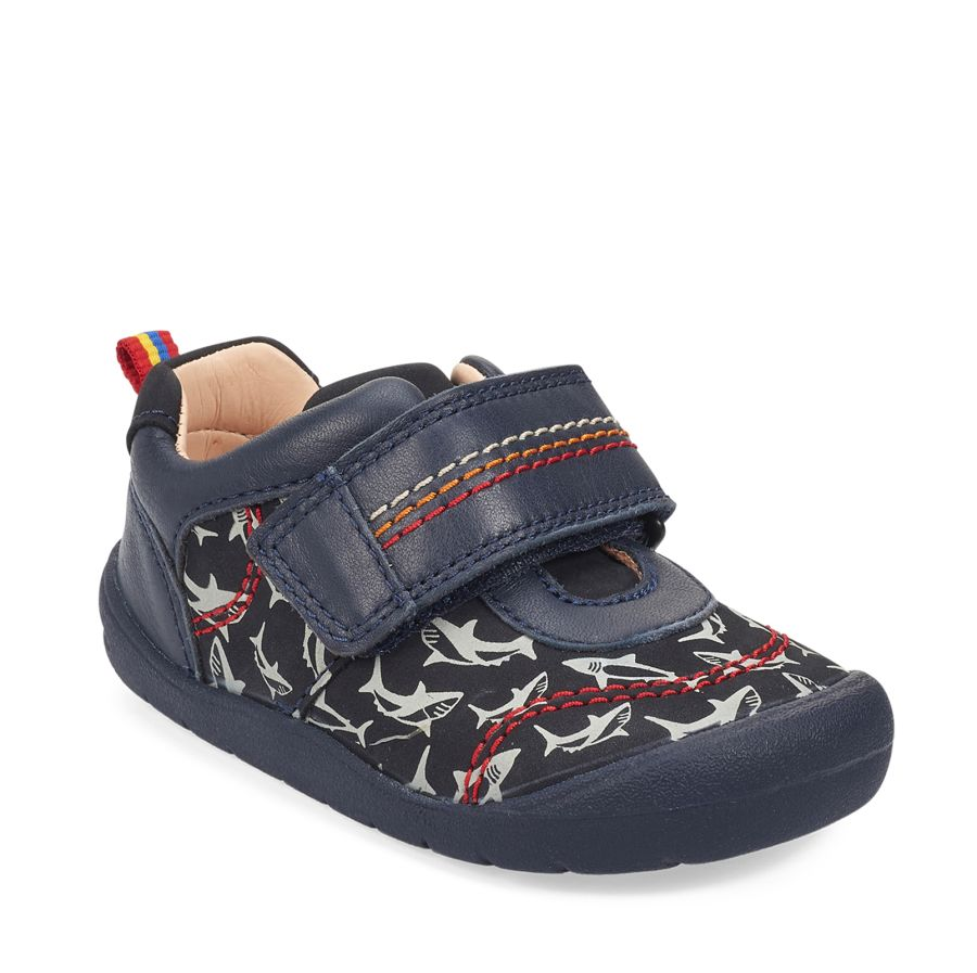 Jaws Navy Nubuck Shark Print Shoes