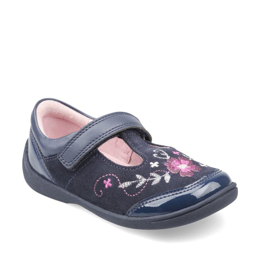 Dance Navy Blue Suede Patent T-bar Shoes
