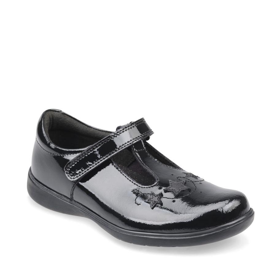 Star Jump Black Patent School Shoes