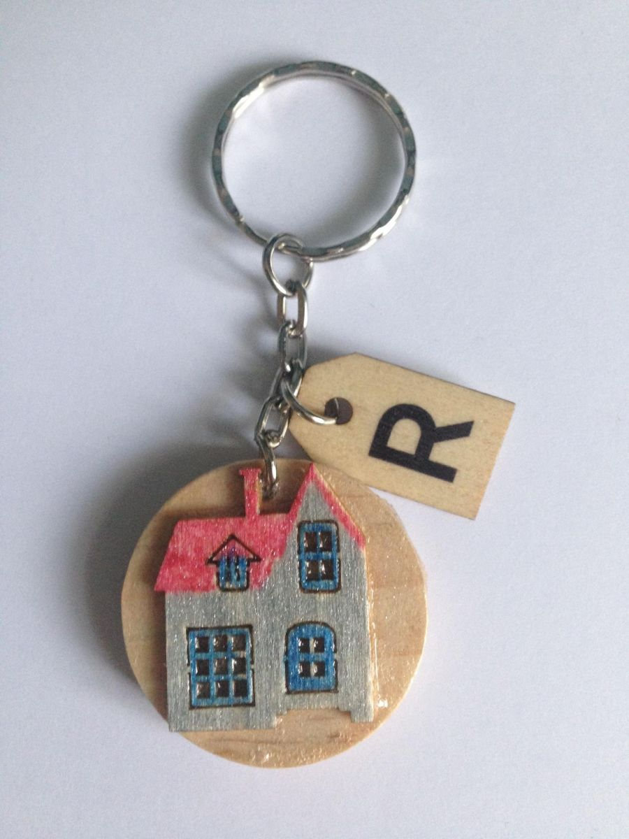 House and Butterfly Keyring