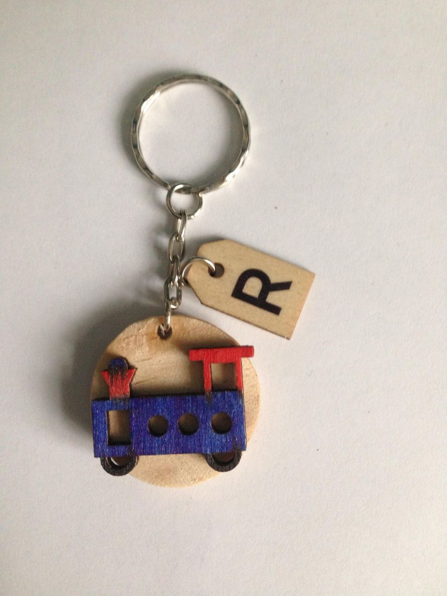 Train and Butterfly Keyring