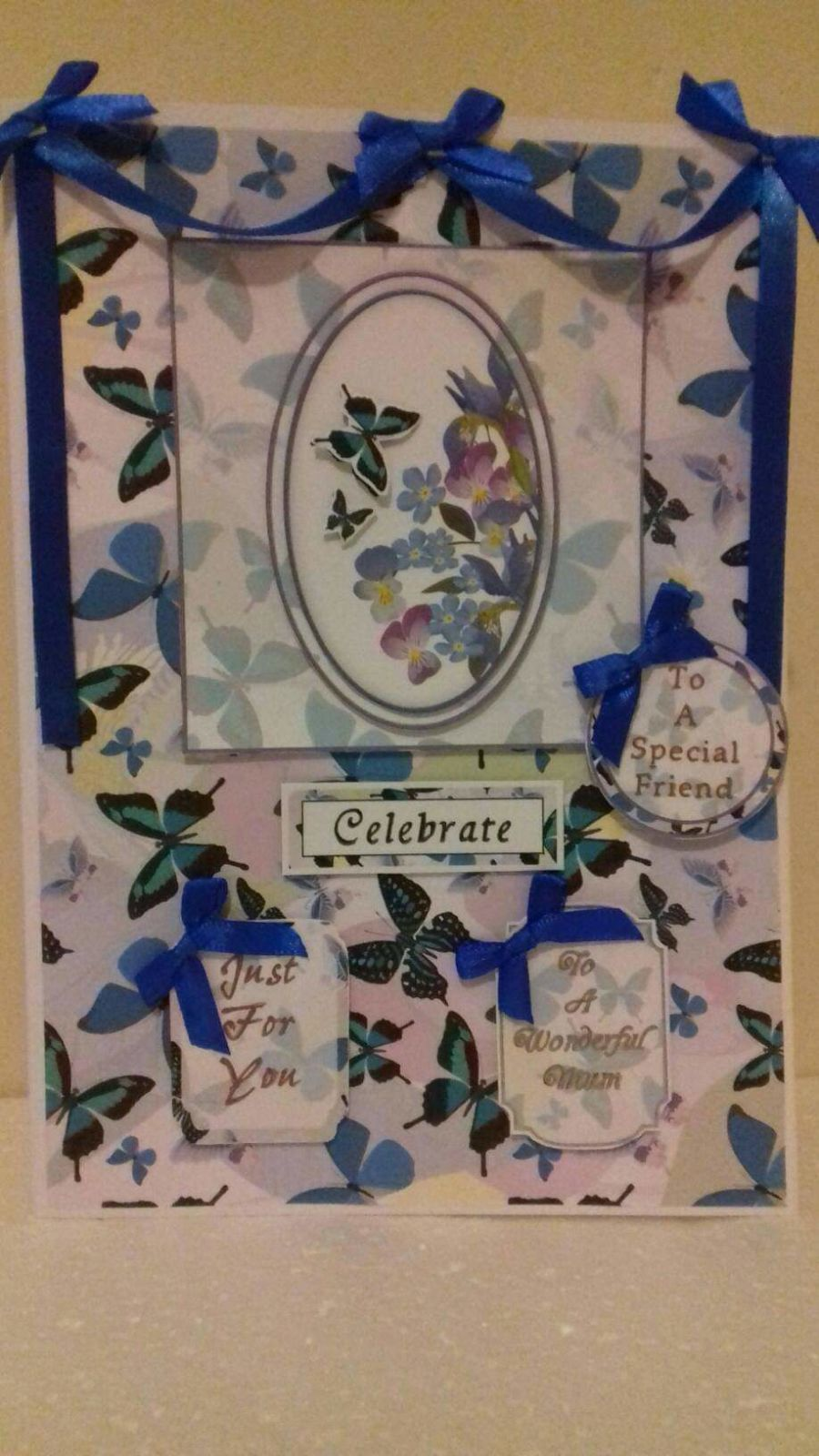 Blue Butterfly and Ribbon Card