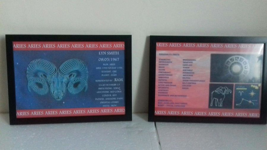 Framed Personalised 13 Zodiac Prints and Information Pamphlet