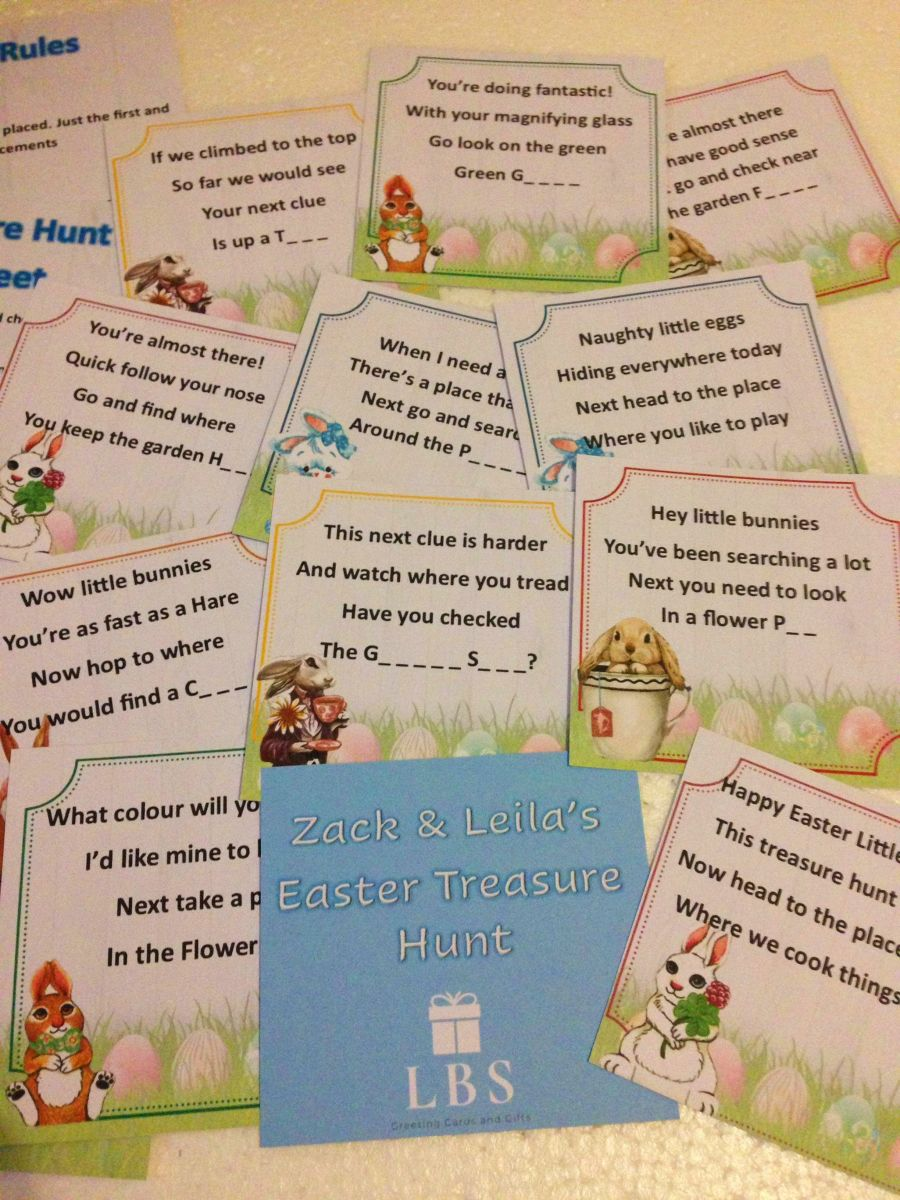 Personalised Outdoor Easter Treasure Hunt Cards