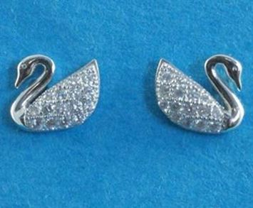 Silver CZ Swan Stud Earrings