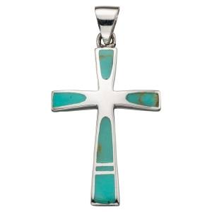 Faux Turquoise Silver Cross & Chain