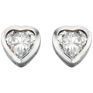 Small Silver Heart Shaped CZ Earrings