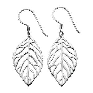 Silver Leaf Design Drop Earrings
