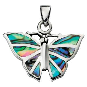 Silver & Paua Shell Butterfly Pendant and Chain