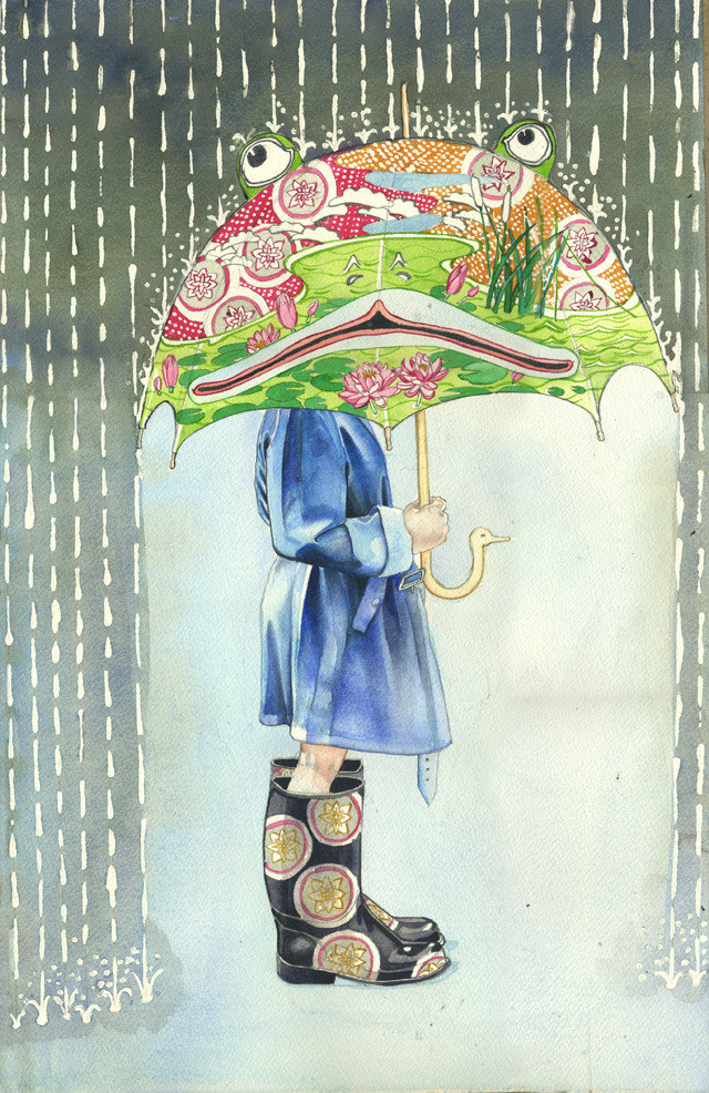Girl with the frog umbrella