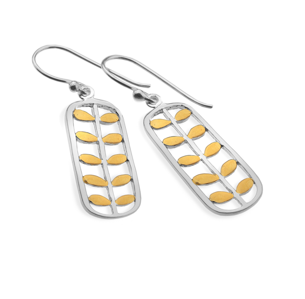 Silver Rectangular Leaf Drop Earrings