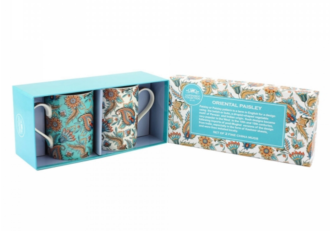 Oriental Paisley Mug Set of 2