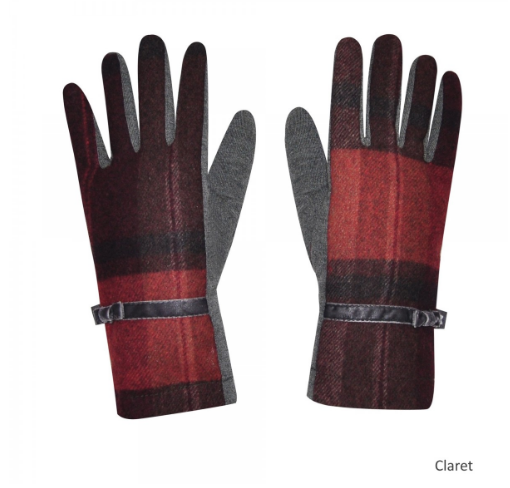 Claret Tweed Gloves