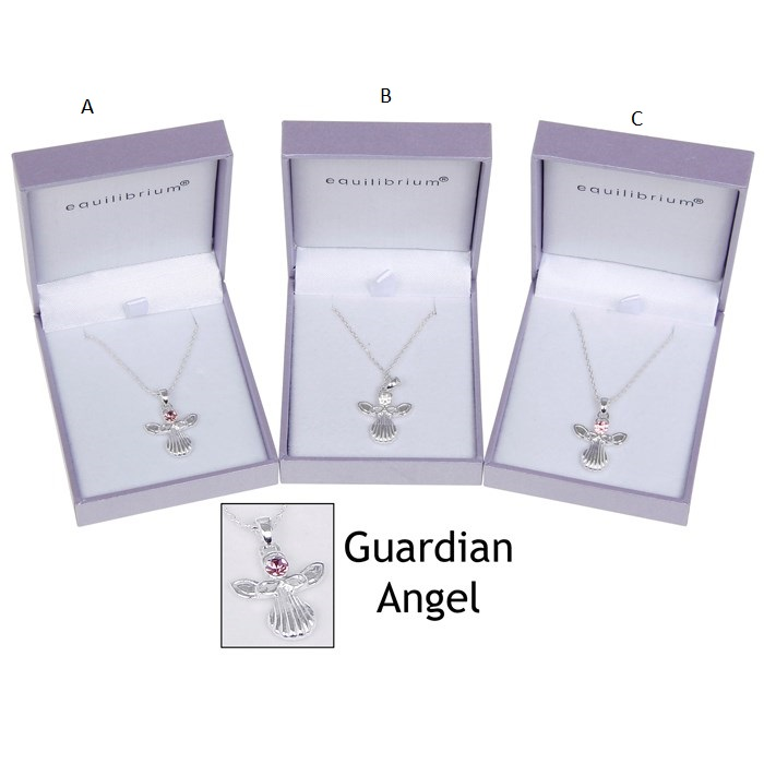 Silver Plated Equilibrium Guardian Angel Pendant