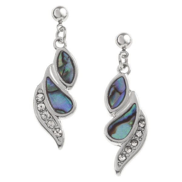Paua Shell and Crystal Drop Earrings