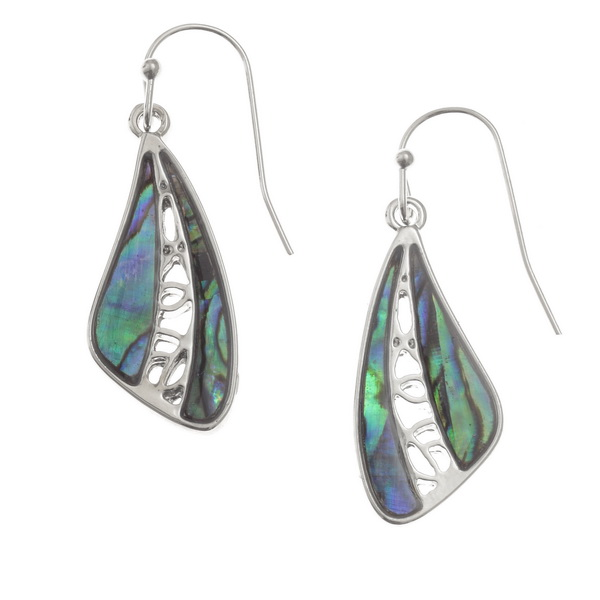 Paua Shell Wing Drop Earrings