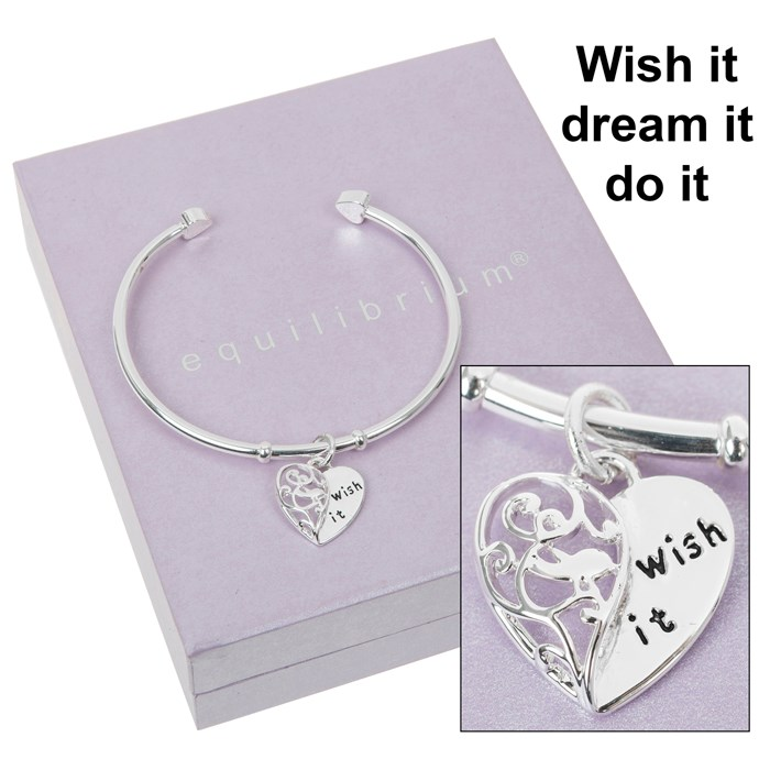 Silver Plated Bangle with Heart Charm