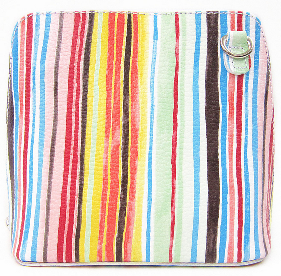 Stripes Leather Cross Body Bag