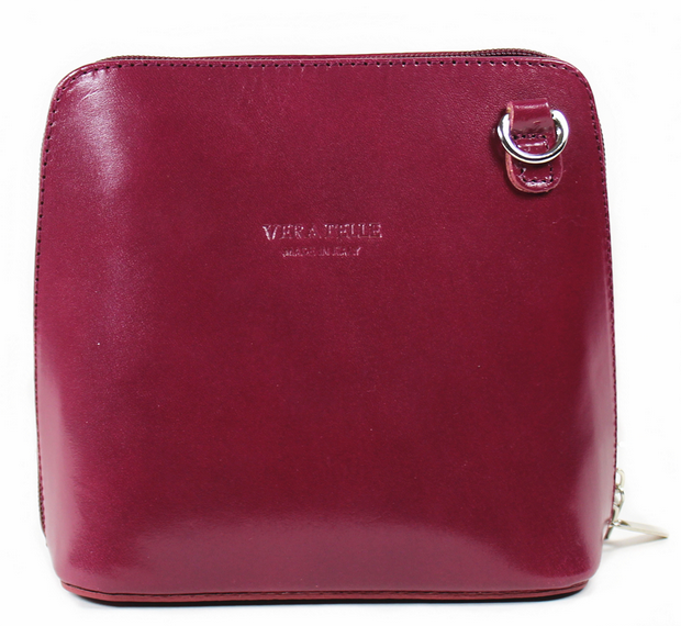 Plum Red Leather Cross Body Bag