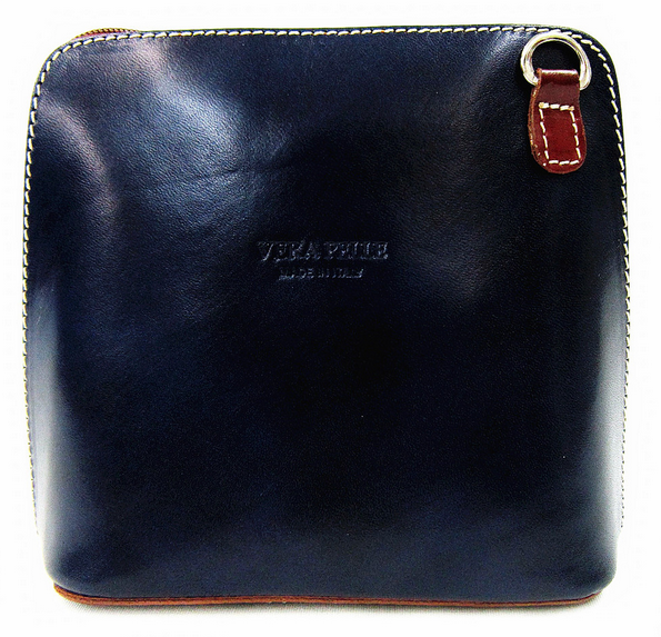 Navy & Light Chocolate Leather Cross Body Bag