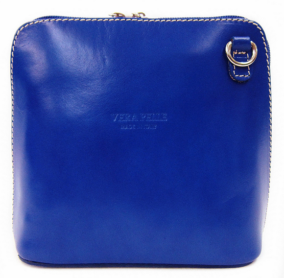 Blue Leather Cross Body Bag