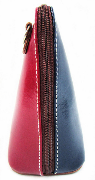 Red & Navy Leather Cross Body Bag